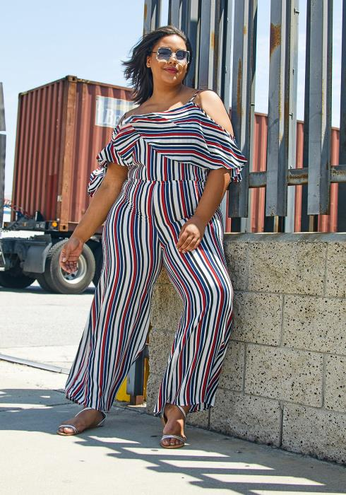 Asoph Plus Size Striped Ruffle Jumpsuit