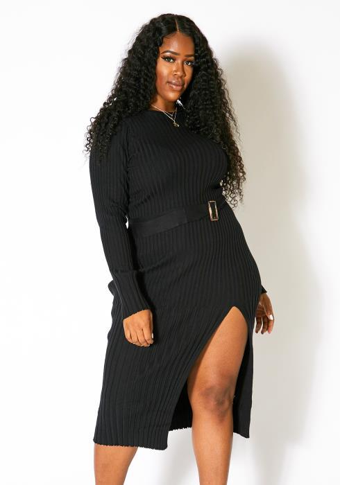 Asoph Plus Size Rib-Knit Slit Womens Maxi Dress