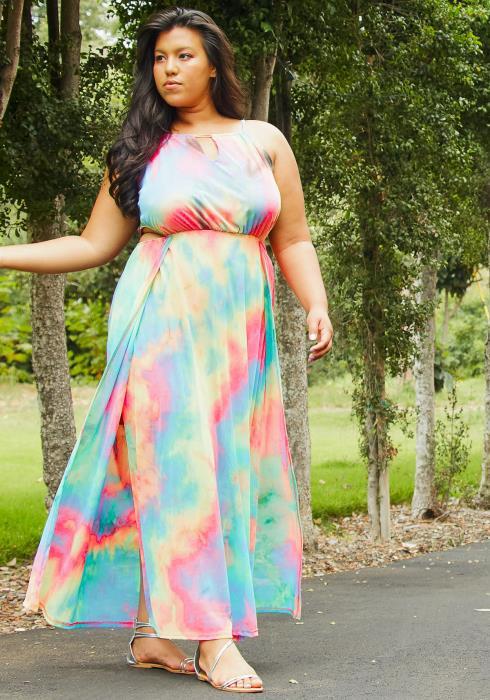 Asoph Plus Size Womens Romantic Tie Dye Slit Maxi Dress