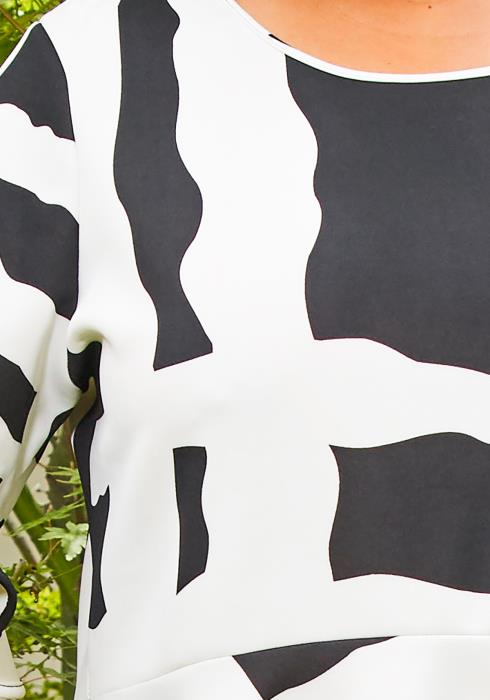 Asoph Plus Size Black White Contrast Dress