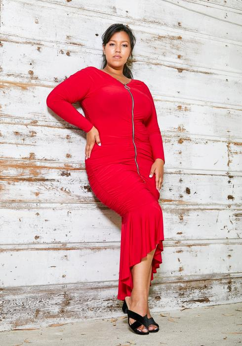 Asoph Plus Size Ruched Zip Up Salsa Dress
