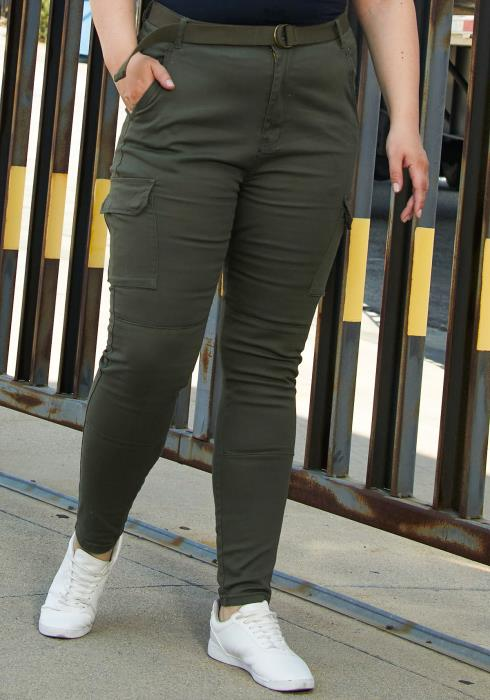 Asoph Plus Size Utility Pocket Pants With Belt