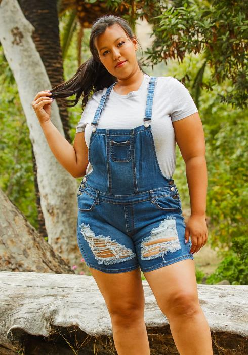 Asoph Plus Size Ripped Denim Overall