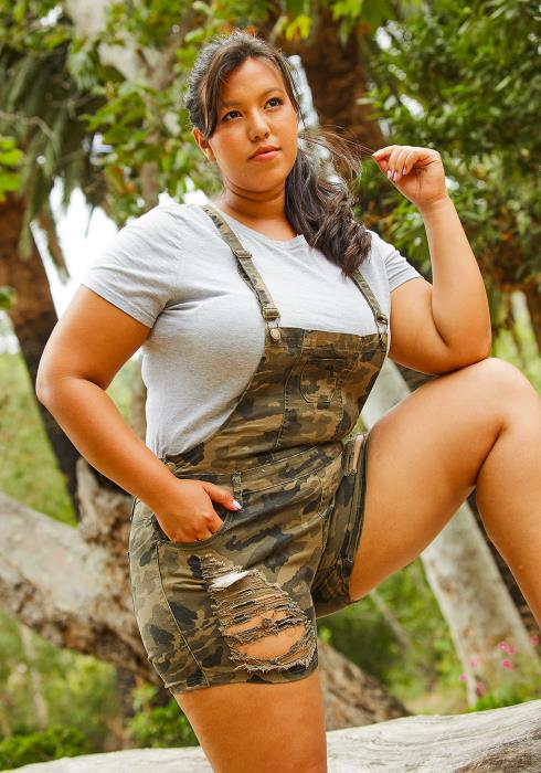 Asoph Plus Size Camo Overall Shorts