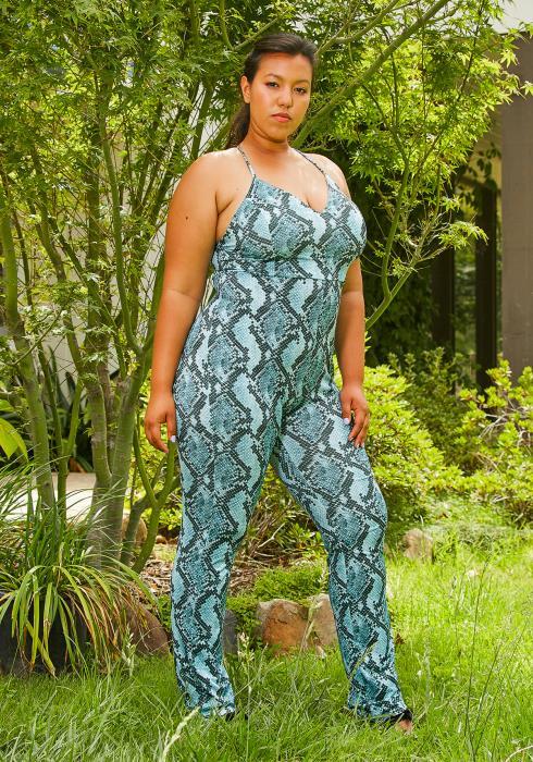 Plus Size Jungle Snake Womens Jumpsuit
