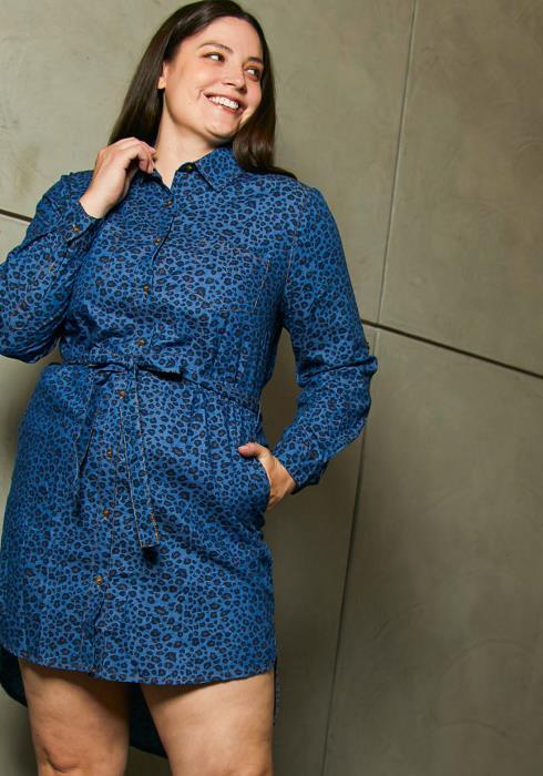Asoph Plus Size Denim Leopard Shirt Dress