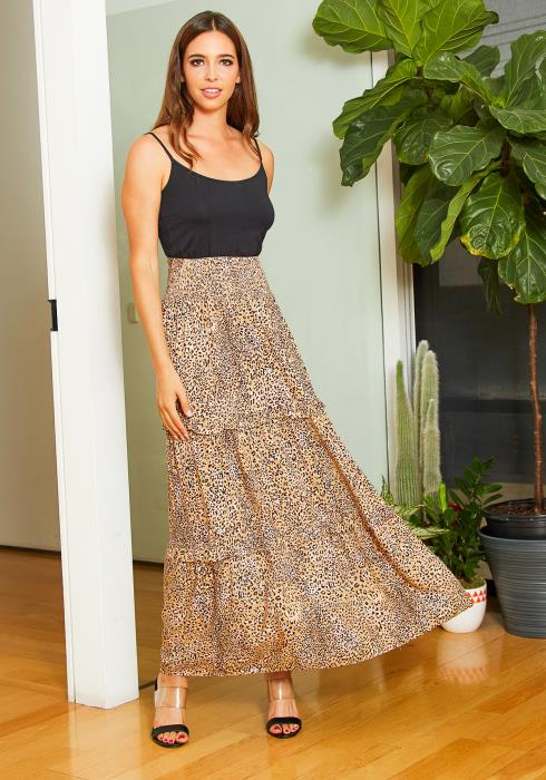 Tansy Womens Wild Leopard Maxi Skirt