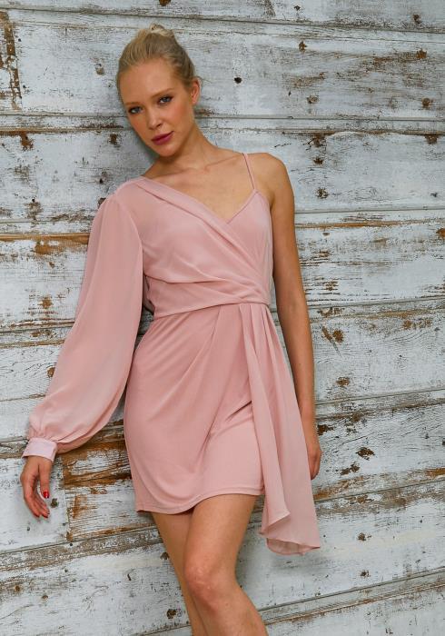 Tansy Women One Sleeve Mauve Dress