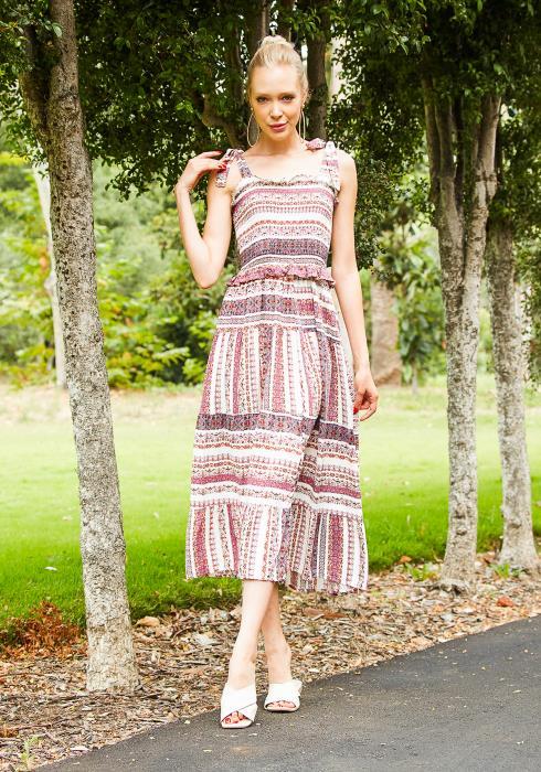Tansy Womens Boho Print Maxi Dress
