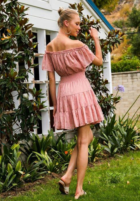 Tansy Off Shoulder Gold Star Chiffon Womens Dress