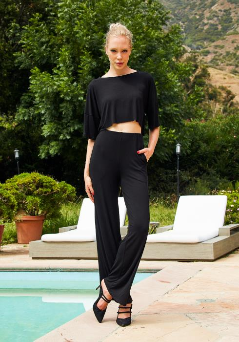 Tansy Black Cropped Top & High Waisted Pants Women Set