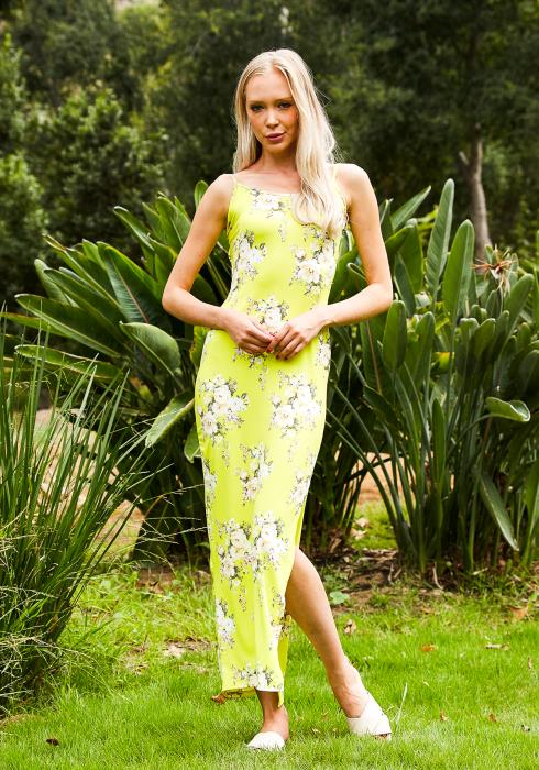 Tansy Neon Womens Floral Maxi Dress