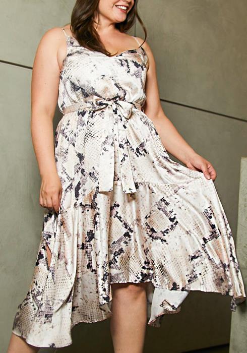 Asoph Plus Size Satin Snake Sun Dress