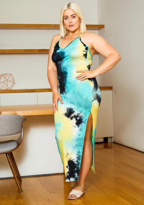 Asoph Plus Size Womens Wonderful Tie Dye Slitted Maxi Dress