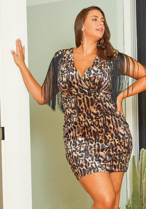 Asoph Curvy Womens Velvet Leopard Dress