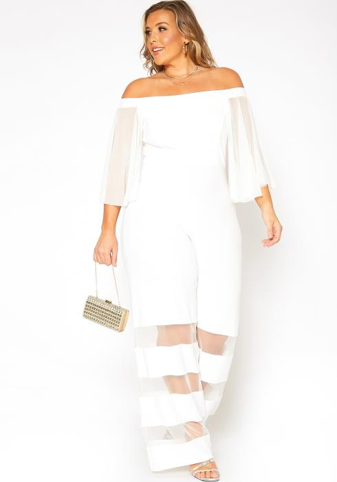 Asoph Plus Size Mesh Contrast Off Shoulder Jumpsuit