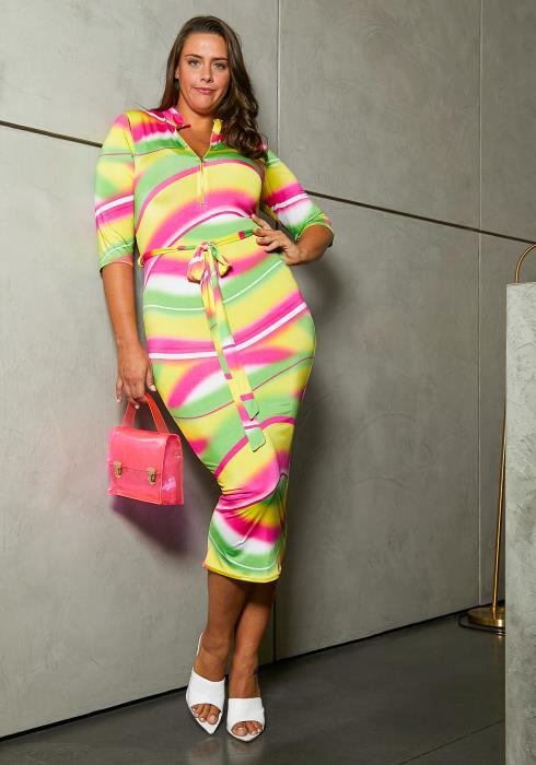 Asoph Plus Size Neon Lights Womens Bodycon Dress