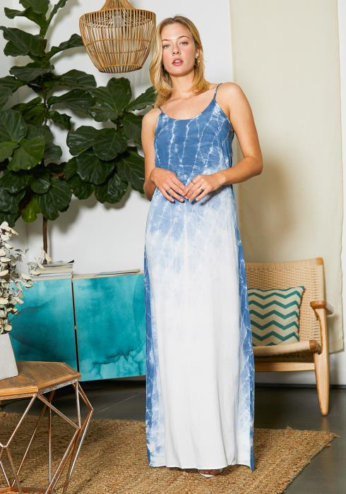Tansy Womens Blue Fading Tie Dye Maxi Dress