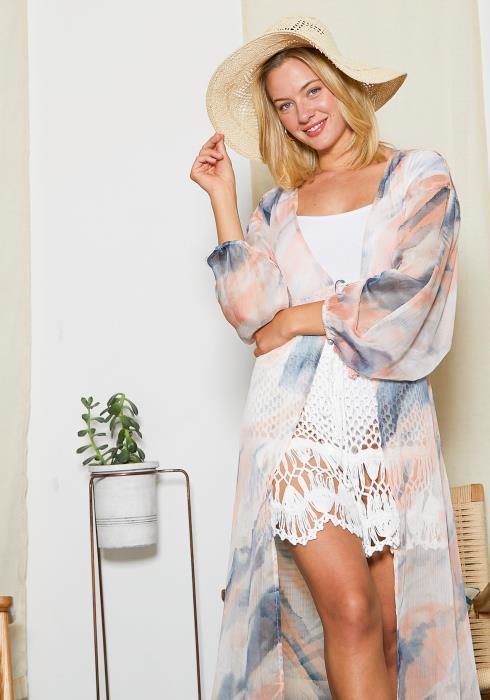 Tansy Pastel Sunset Mesh Womens Long Kimono