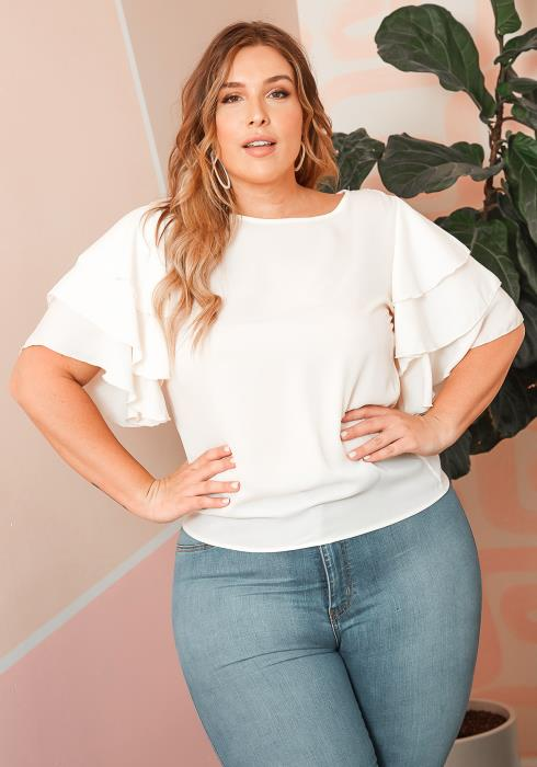 Asoph Plus Size Tiered Short Sleeve Ruffle Blouse