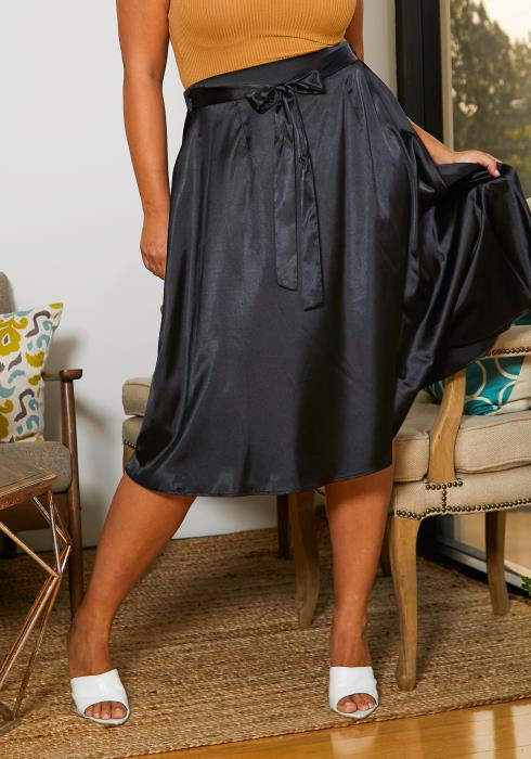 Asoph Plus Size Drappy Satin Skirt
