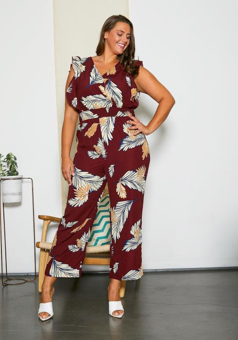 Asoph Curvy Womens Simple Vacation Jumpsuit