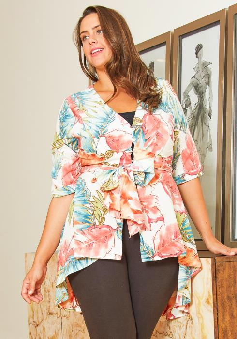 Asoph Plus Size Floral Leaves Womens High Low Blouse