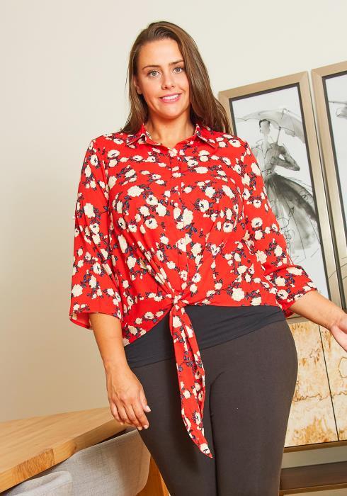 Asoph Plus Size Womens Red Floral Tie Hem Blouse