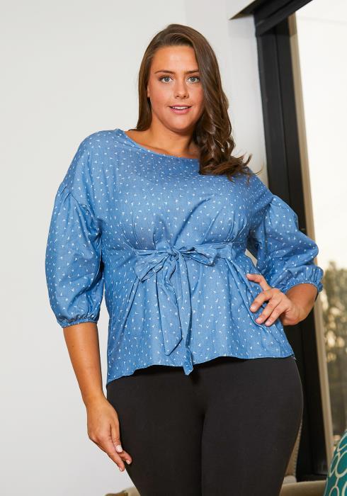 Asoph Plus Size Blue Denim Blouse