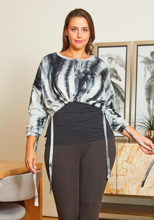 Asoph Curvy Womens Tie Dye Cropped Sweatshirt