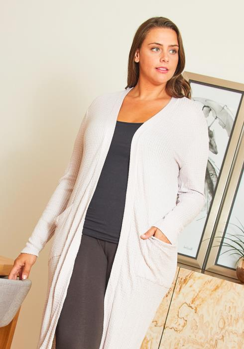 Asoph Plus Size Airy Thermo Knit Womens Long Cardigan