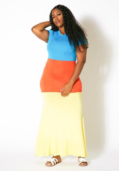 Asoph Plus Size Womens Crew Neck Color Block Maxi Dress