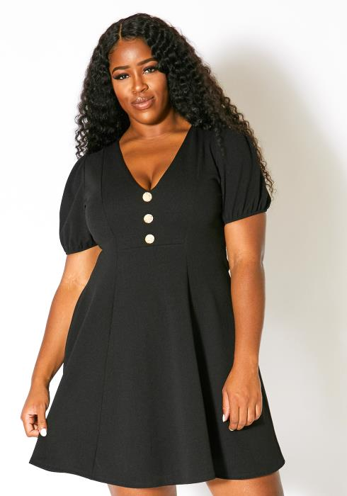 Asoph Plus Size Classic Womens Fit and Flare Dress
