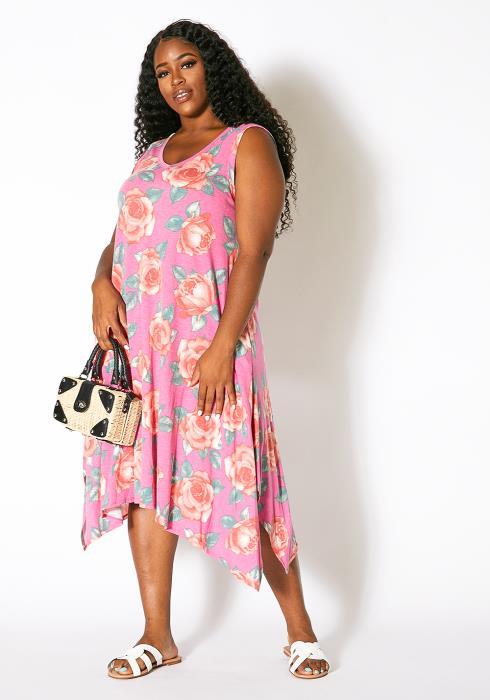 Asoph Plus Size Sunset Ave Asymmetrical Women Tank Dress