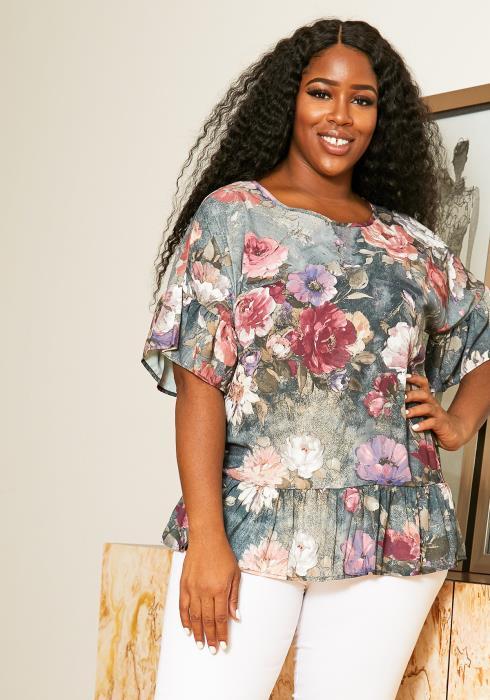 Asoph Plus Size Floral Arts Ruffle Womens Blouse