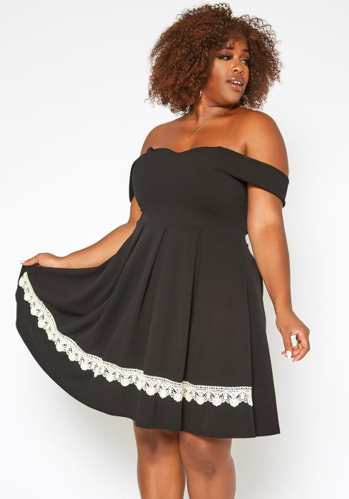 Asoph Plus Size Off Shoulder Lace Trim Mini Dress