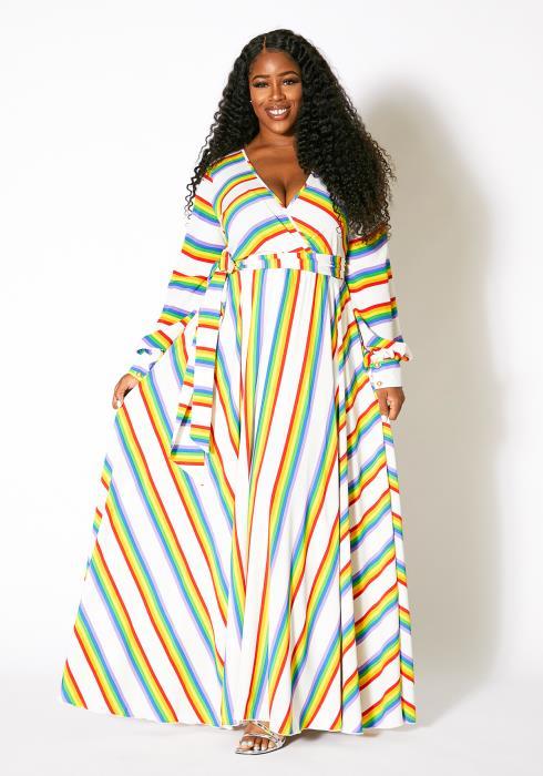 Asoph Plus Size Womens Rainbow Frenzy Maxi Dress