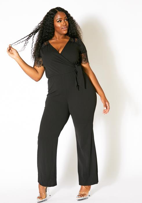 Asoph Plus Size Laced Wrap Jumpsuit
