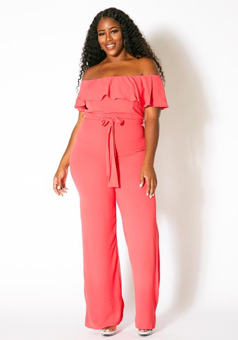Asoph Plus Size Peach Season Womens Jumpsuit