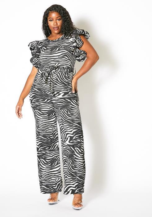 Asoph Plus Size Zebra Ruffle Jumpsuit