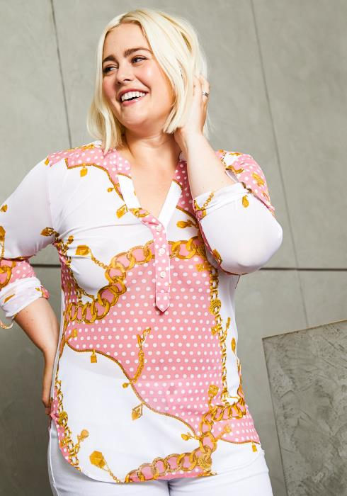 Asoph Curvy Womens Polka Dot Chains Printed Blouse