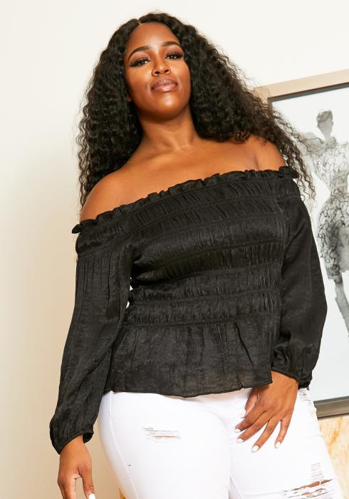 Asoph Plus Size Womens Off Shoulder Smocked Blouse