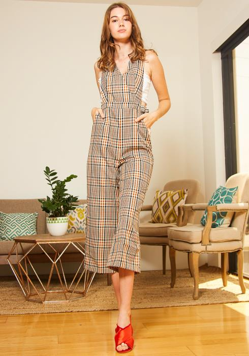 Tansy Orange Plaid Women Overalls Jumpsuit