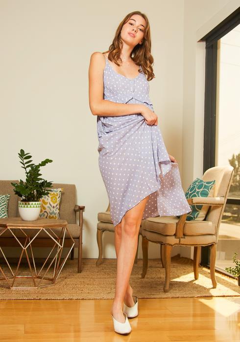 Tansy Womens Lavender Polka Dot Midi Dress