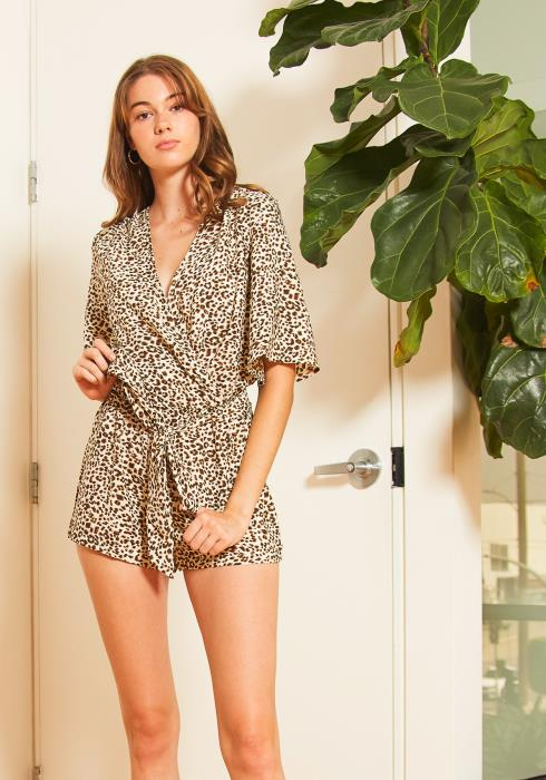 Tansy Womens Leopard Panel Romper