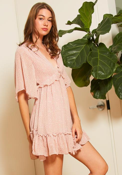 Tansy Womens Blushing Ruffle Dress