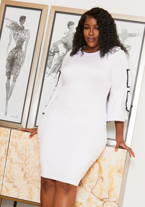 Asoph Plus Size Bow Sleeve Bodycon Party Dress