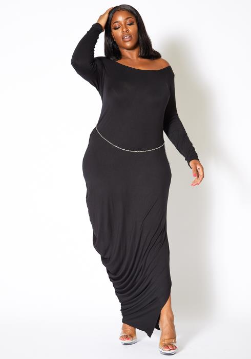 Asoph Plus Size Simple Ruched End Women Maxi Dress