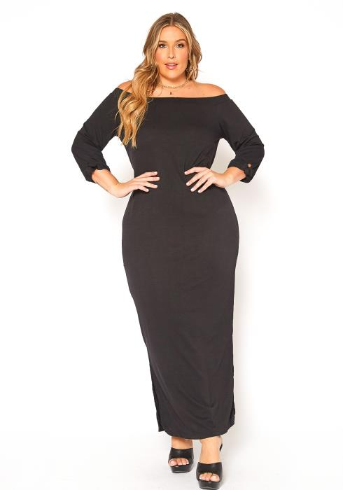 Asoph Plus Size Off Shoulder Casual Maxi Dress