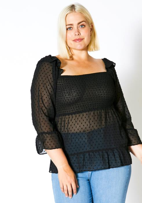 Asoph Plus Size Dotted Square Neck Blouse